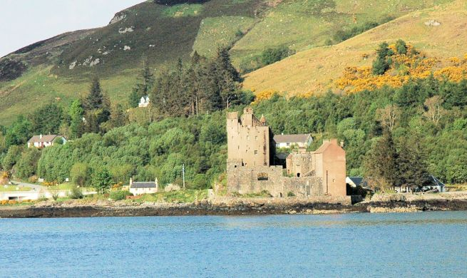 Another famous landmark within easy reach is Eilean Donan Castle, views of which will be familiar to many people as it regularly features in newspaper and magazine aricles, adverts and on TV. This photo shows the castle from a more unusual viewpoint, on the far side of Loch Duich.